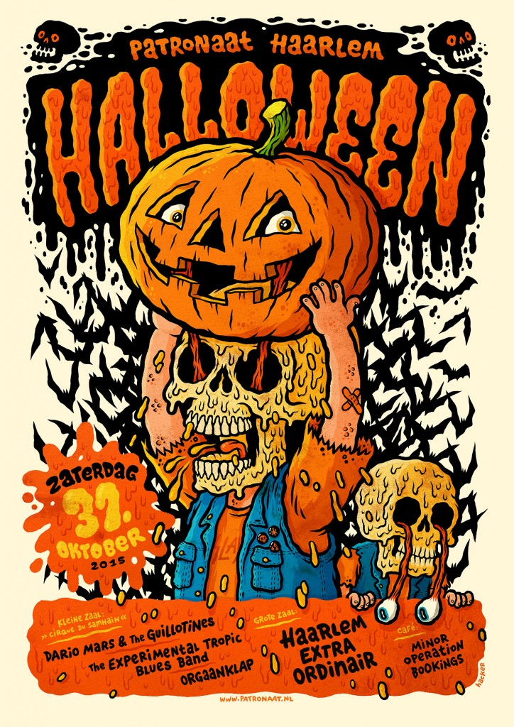Halloween gig poster for Patronaat Haarlem by Michael Hacker