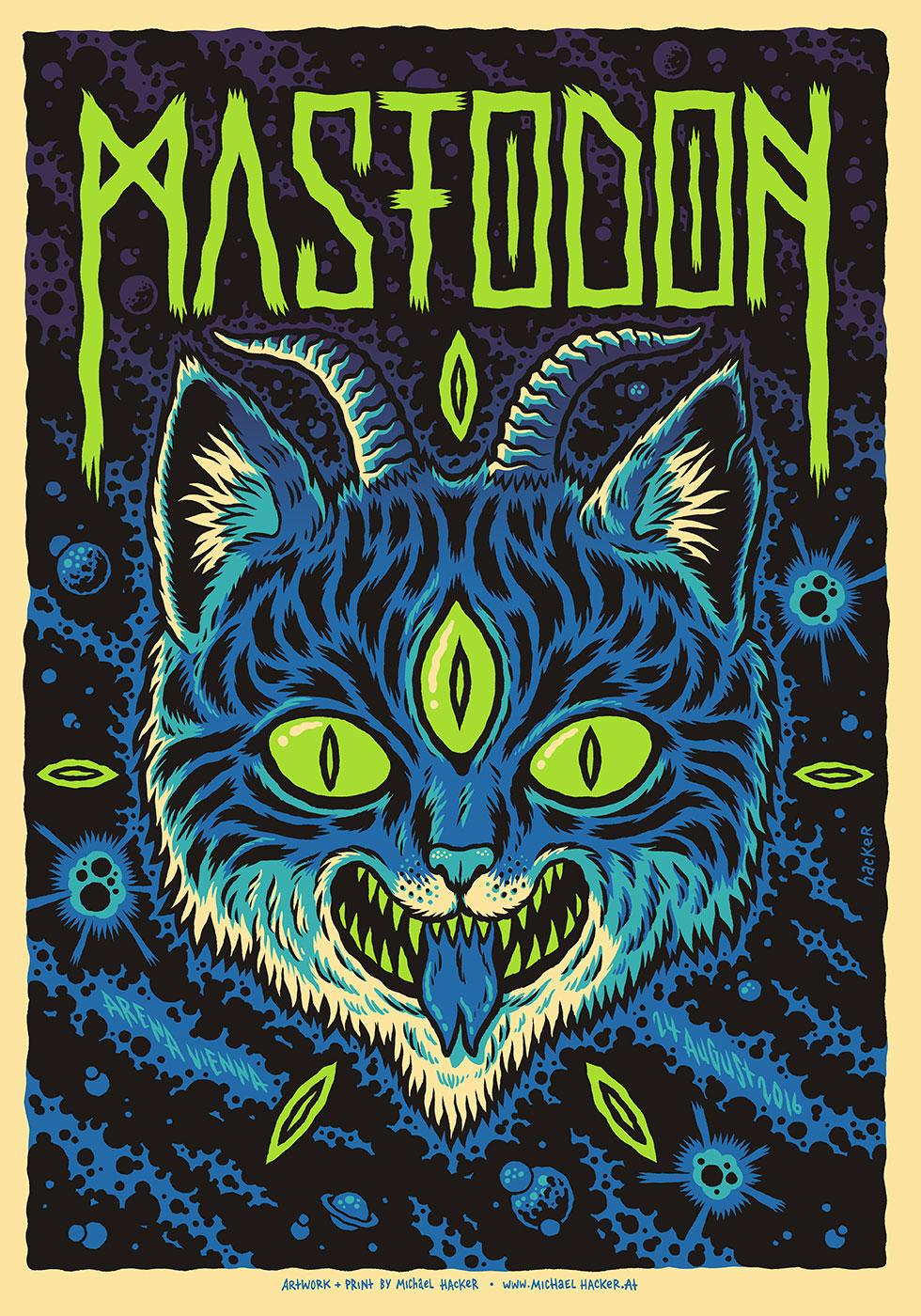 Mastodon Arena Vienna gig poster by Michael Hacker
