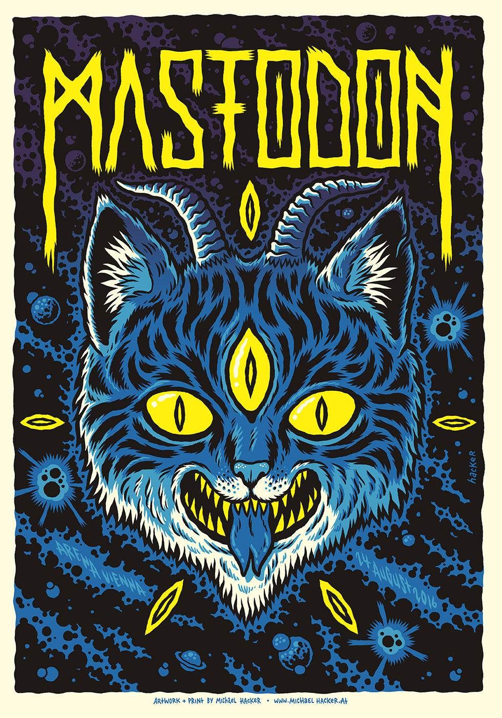 Mastodon Arena Vienna gig poster by Michael Hacker